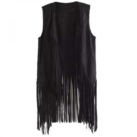🆕️ NWT Black Waterfall Fringe Vest Sz Large